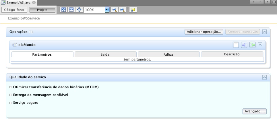 Exemplo visual de Web Services no NetBeans.